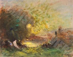Crepuscule sur l etang - Ravier